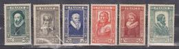 FRANCE 1943 CELEBRITIES XVI CENTURY MONTAIGNE CLOUET PARÉ TERRAIL BETHUNE HENRI IV MNH IV# 587-592 - Neufs