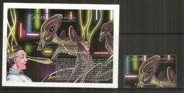 Apparitions De L'extraterrestre., Un Bloc-feuillet + Timbre Neufs ** Du Nicaragua.  Forte Côte 52,00 Euro - Astronomie