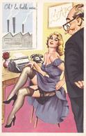CPSM Grivoise Pin-up Sexy Bas Porte-Jarettelles Machine à Ecrire Typewriter Humour Illustrateur L. CARRIERE N° 475 - Carrière, Louis