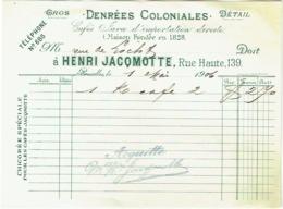 Facture. Cafés Henri Jacqmotte, Rue Haute, Bruxelles. 1906. - 1900 – 1949