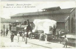 Carrara. Ferrovia Marmifera. Trasporto Di Un Blocco Di 38 Tonnellate. Gare Et Train. - Carrara