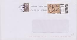 Toshiba 05505A Date Non Valide Du 24-11-14 (timbre En Ligne Coeurs) - Mechanical Postmarks (Other)