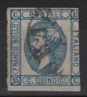 1863 15 C. Azzurro Litografico I Tipo US - 1861-78 Vittorio Emanuele II