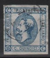 1863 15 C. Azzurro Litografico II Tipo US - 1861-78 Vittorio Emanuele II