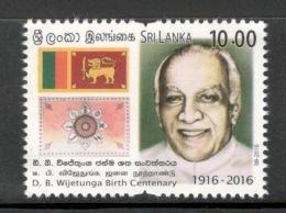 Sri Lanka 2016 D. B. Wijetunga Birth Centenary Flag Coat Of Arms 1v MNH # 1822 - Sri Lanka (Ceylon) (1948-...)