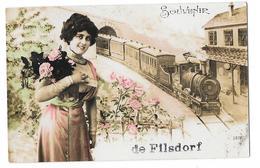 FILSDORF DALHEIM (Luxembourg) Carte Fantaisie Train Souvenir - Remich
