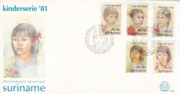 KINDERSERIE-FDC 1981 SURINAME 5 DIFFERENT STAMPS- BLEUP - Suriname
