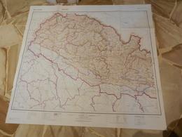 8b) NEPAL GRANDE CARTA GEOGRAFICA WEST SHEET 87 X 94 Cm DATATA 1967 PESO 85 GRAMMI - Carte Topografiche