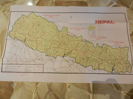 8b) NEPAL GRANDE CARTA GEOGRAFICA 106 X 68Cm SENZA DATA PESO 110 GRAMMI - Cartes Topographiques