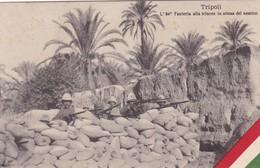 TRIPOLI. L'84° FANTERIA ALLA TRINCEA IN ATTESA DEL NEMICO. DITTA G GARIONI FOTO. CIRCA 1910s-RARE- BLEUP - Libië