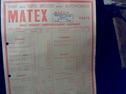 Publicité Tract Tapis Pour Automobiles Peugeot Panhard Citroen Renault MATEX A Macon Annee 60 - France
