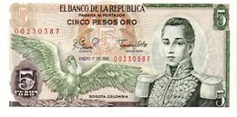 Colombia P.406  5  Pesos 1981 Unc - Colombia