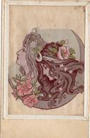 CPA. 2 Têtes De Femmes.  Tissé Sur Soie. Style Mucha. Art Nouveau. Cadre. - Cartes Postales