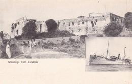 GREETINGS FROM ZANZIBAR. (TANZANIA) MULTI VUE VIEW VISTA CIRCA 1900s-RARISIME- BLEUP - Tanzania