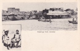 GREETINGS FROM ZANZIBAR. (TANZANIA) MULTI VUE VIEW VISTA ETHNIC CIRCA 1900s-UNIQUE-RARISIME- BLEUP - Tanzania