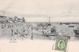 ZANZIBAR. UNE PLAGE. AVEC STAMP ET OBLITERE 1901-RARISIME- BLEUP - Tanzania