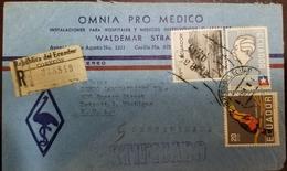 O) 1963 ECUADOR, GABRIELA MISTRAL, TOUCAN -RED BREASTED, SAN PABLO-IMBABURA LAKE, OMNIA PRO MEDICO,CERTIFICATE TO USA - Ecuador