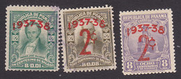 Panama, Scott #299, 304-305, Used/Mint Hinged, Regular Issues Overprinted/Surcharged, Issued 1937 - Panama