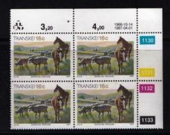 TRANSKEI, 1987, Mint Never Hinged Stamps In Control Blocks, MI 201,  Xhosa Culture,  X278 - Transkei