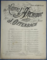 CAF CONC OFFENBACH OPÉRETTE PARTITION XIX MADAME L'ARCHIDUC MILLAUD BOUFFE 1874 MARIETTA PAS ÇA ! - Muziek & Instrumenten