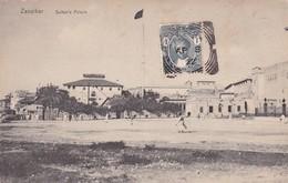 ZANZIBAR. SULTAN's PALACE. AVEC TIMBRE NOIR 1C ZANZIBAR ET OBLITEREE 1922-UNIQUE-RARISIME-TBE- BLEUP - Tanzania
