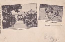 ZANZIBAR. ENTRACE OF THE VICTORIA GARDEN, NATIVES WASHING CLOTHES. MULTI VUE. CUTINHO BROS. CIRCULEE-RARISIME- BLEUP - Tanzania