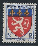 FRANCE 1943 - YT N°572 - 5 F. Outremer, Rouge Et Jaune - Armoiries De Provinces - Lyonnais - Neuf** - TTB Etat - 1941-66 Armoiries Et Blasons