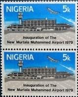 NIGERIA 1979 Airport Airplane 5k ERROR:PRINTED GUM SIDE BACK PAIR - Nigeria (1961-...)