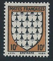 FRANCE 1943 - YT N°573 - 10 F. Noir Et Jaune-brun - Armoiries De Provinces - Bretagne - Neuf** - TTB Etat - 1941-66 Armoiries Et Blasons
