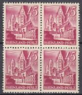 AllBes. FrzZone RHEINLAND-PFALZ 10 Vv I, 4erBlock, Postfrisch **, Mainzer Dom 1947 - Französische Zone