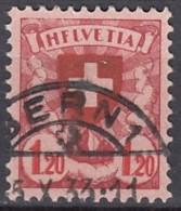 "SCHWEIZ, 195 X I, Plattenfehler: Erstes ""E"" In ""HELVETIA"" Wie ""F"", Gestempelt, Wappenschild 1924 - Abarten"