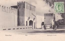 ZANZIBAR. 190. BARRACKS & JAIL. OBLITERE CIRCA 1900s-RARE- DAMAGE FROM BEHIND- BLEUP - Tanzania