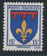 FRANCE 1943 - YT N°574 - 15 F. Outremer, Rouge Et Jaune - Armoiries De Provinces - Provence - Neuf** - TTB Etat - 1941-66 Armoiries Et Blasons