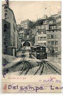 - LYON - Funiculaire De St Just -  Cliché Peu Courant, Précurseur, épaisse, écrite, 1903, TBE, Scans. - Lyon