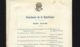 PRESIDENCE De La REPUBLIQUE Maison Militaire / Civile / Senat / Chambre Deputées. Carte 1905 MONOGRAMME DORE En RELIEF - Programmes
