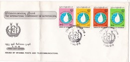 THE INTERNATIONAL CONFERENCE ON NUTRITION ICN-FDC 1992 UNION OF MYANMAR 4 COLOR STAMPS- BLEUP - Myanmar (Birmanie 1948-...)