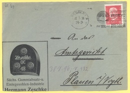 Deutsches Reich - 1930 - 15 + Flamme Dresden Internationale Hygiene Ausstellung - Fragment - Viaggiata Da Dresden Per Pl - Deutschland
