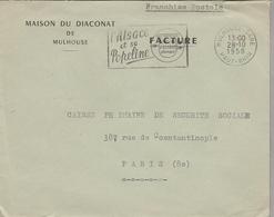 """LSC 1958  - Entête Maison Du DIACONAT De MULHOUSE - Flamme """"l'Alsace Et Sa Popeline"""" - Mechanische Stempels (reclame)"""