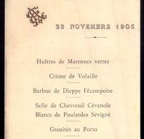 1905 MENU LUNCH Pendant La Voyage De ROI De PORTUGAL En FRANCE Monograma EA. Menu Durante A Viagem REI D.CARLOS A FRANÇA - Menus