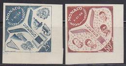 Monaco (1959) UNESCO Emblem. Set Of 2 Trial Color Proofs.  Scott Nos 435-6, Yvert Nos 511-2 - UNESCO
