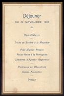 MENU DEJEUNER Du TRAIN SPECIAL Depart HENDAYE Vers PARIS. Visite Du Roi D.Carlos De Portugal. Royalty RAILWAY FRANCE - Documents Historiques