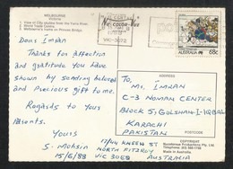 Australia 1988 Slogan Postmark Air Mail Postal Used Picture Postcard With Stamps - Australia