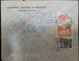 O) 1940 COLOMBIA, COFFEE PICKING 5c Brown, COFFEE PLANT 30c, COMMUNICATIONS PALACE 1/2c, CORREO AEREO MANCOMUN, COMPAÑIA - Colombia