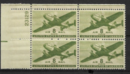 US 1944 Air Mail Twin Motored Transport Plane Block Of 4 Scott # C26,VF-XF MNH**OG - Airplanes