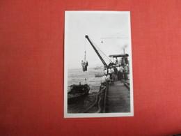 RPPC   Men Hoisted By Crane          Black Paper Residue On Back     Ref. 3084 - Postcards