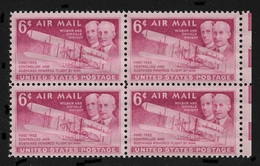 US 1949 Air Mail Wright Brothers Block Of 4 Scott # C45,VF-XF MNH**OG - Airplanes