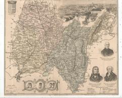 Carte Géographique AIN, Gravé Par Lecocq, Barbier Et Waltner , Migeon éditeur , BOURG , Frais Fr 1.65 E - Carte Geographique