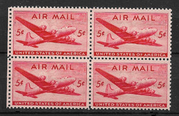 US 1946 Air Mail DC-4 Skymaster Block Of 4 Scott # C32,VF Mint Hinged*OG ,with Gum - Airplanes