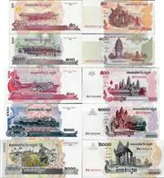 Cambodia Set 5 Pcs 50+100+500+1000+2000 Riels - Pick 52-59 UNC Random Years - Cambodge
