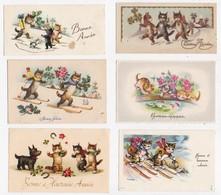 CP MIGNONETTE ILLUSTRATION CHATS Lot De 6 Cartes Petit Format - Gatos
